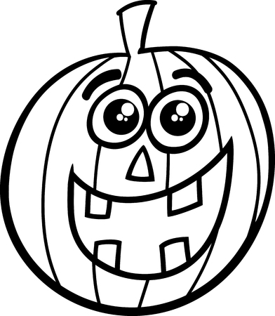 sneer: Black and White Cartoon Illustration of Jack Lantern for Coloring Book