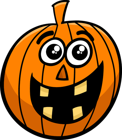 sneer: Cartoon Illustration of Halloween Pumpkin or Jack Lantern