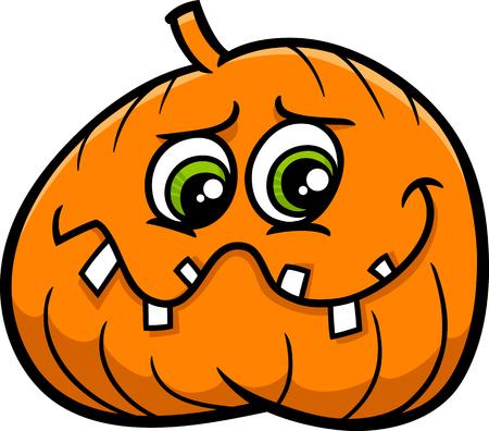 sneer: Cartoon Illustration of Halloween Jack Lantern Pumpkin Illustration