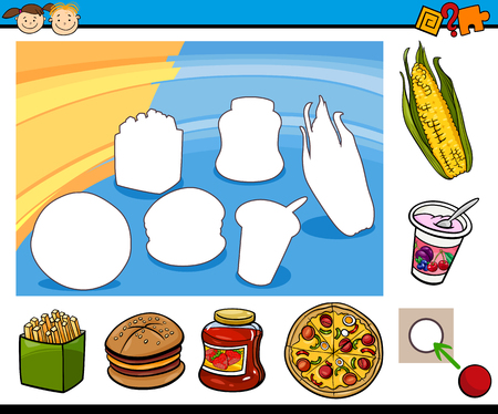 Cartoon Illustration of Educational Game for Preschool Children with Food Objects Vectores