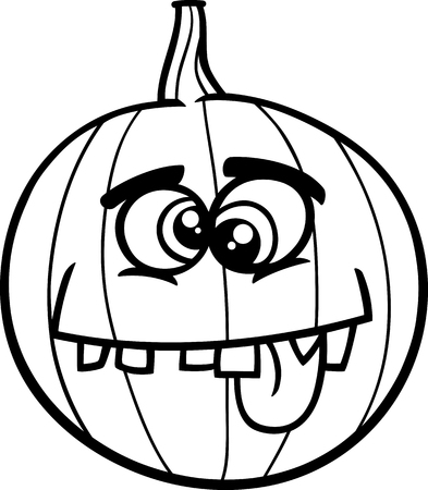 sneer: Black and White Cartoon Illustration of Funny Jack Lantern Pumpkin Coloring Page