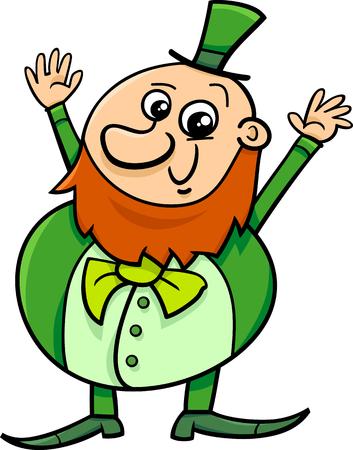 saint patrick: Cartoon Illustration of Happy Leprechaun on Saint Patrick Day