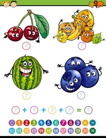 Cartoon Illustration de l'enseignement des mathématiques Addition tâche pour enfants d'âge préscolaire aux fruits drôles Banque d'images - 45852867