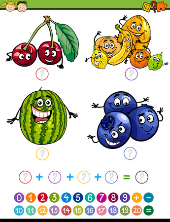 Cartoon Illustration of Education Mathematical Addition Task for Preschool Children with Funny Fruits