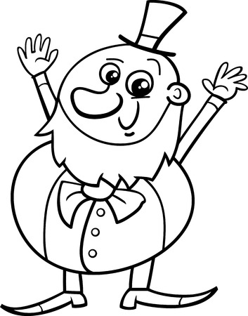 leprechaun: Black and White Cartoon Illustration of Happy Leprechaun on Saint Patrick Day for Coloring Book