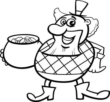 saint patrick: Black and White Cartoon Illustration of Leprechaun with Pot of Gold on Saint Patrick Day Holiday for Coloring Book Illustration