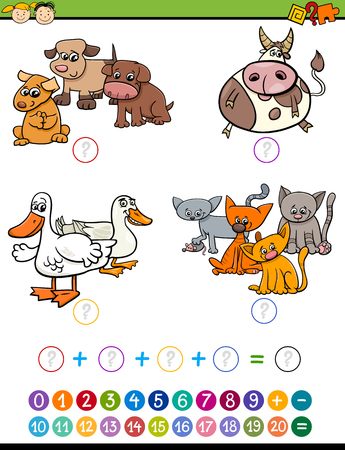 addition: Cartoon Illustration of Education Mathematical Addition Game for Preschool Children with Animal Characters