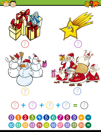 enumerate: Cartoon Illustration of Education Mathematical Addition Task for Preschool Children with Christmas Characters