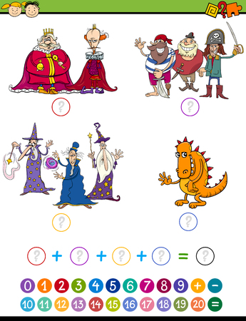addition: Cartoon Illustration of Education Mathematical Addition Game for Preschool Children with Fantasy Characters Illustration