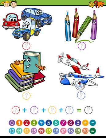 addition: Cartoon Illustration of Education Mathematical Addition Task for Preschool Children