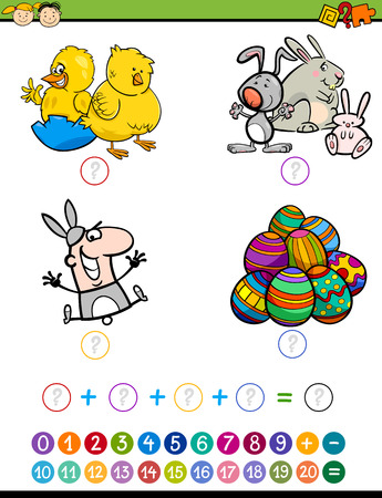 addition: Cartoon Illustration of Education Mathematical Addition Game for Preschool Children with Easter Characters