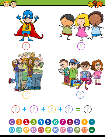 Cartoon Illustration of Education Mathematical Addition Task for Preschool Children with Pupils Characters Illustration