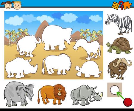 safari animal: Cartoon Illustration of Educational Game for Preschool Children with Safari Animal Characters