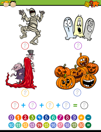 cartoon math: Cartoon Illustration of Education Mathematical Addition Task for Preschool Children with Halloween Characters