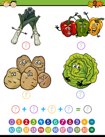Cartoon Illustration of Education Mathematical Addition Task for Preschool Children with Funny Vegetables