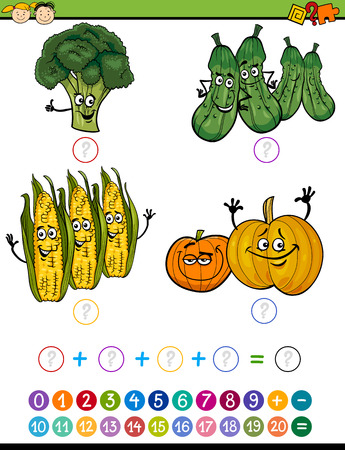 mathematics: Cartoon Illustration of Education Mathematical Addition Game for Preschool Children with Funny Vegetables Illustration