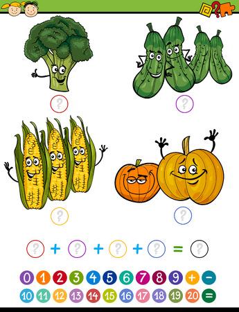 kinder: Ejemplo de la historieta de Educaci�n Matem�tica Adici�n juego para ni�os en edad preescolar con verduras divertidos