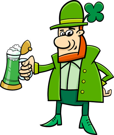 leprechaun: Cartoon Illustration of Leprechaun on Saint Patrick Day with Beer and Clover
