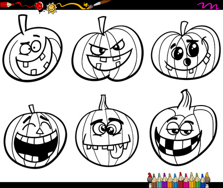 sneer: Black and White Cartoon Illustration Jacks Lanterns or Halloween Pumpkins Characters Set for Coloring Book
