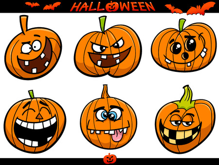 cartoon halloween: Cartoon Illustration of Halloween Pumpkins or Jack Lanterns Holiday Set Illustration