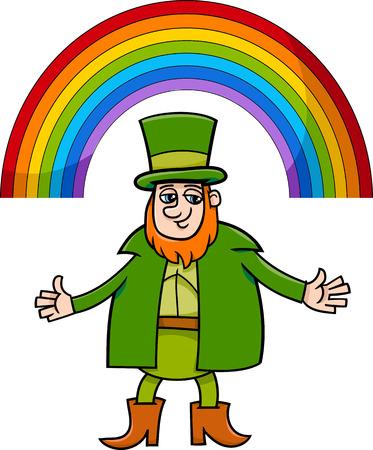 arcoiris caricatura: Dibujos animados Ilustración de Leprechaun con el arco iris en el día de San Patricio