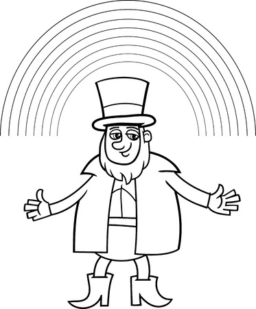 leprechaun: Black and White Cartoon Illustration of Leprechaun with Rainbow on Saint Patrick Day for Coloring Book
