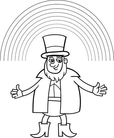 Ilustración De Dibujos Animados Blanco Y Negro Del Leprechaun Y Día ...