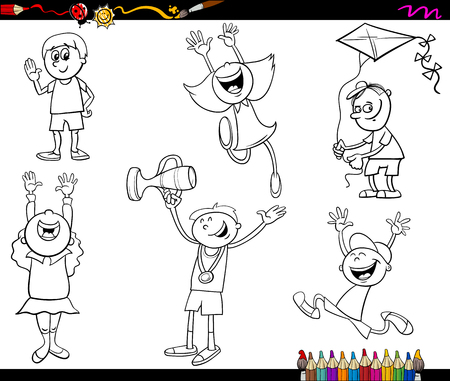 black boys: Black and White Cartoon Illustration of Cute Little Boys and Girls Children Characters Set for Coloring Book