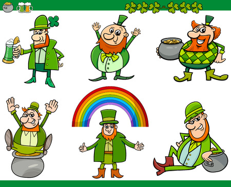 leprechaun: Cartoon Illustration of Leprechaun and Saint Patrick Day Themes Set with Rainbow and Clovers and Pot of Gold Illustration