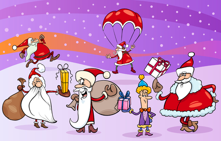 papa: Cartoon Illustration of Santa Claus Characters Group on Christmas Eve Illustration