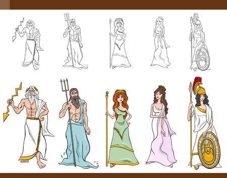 Cartoon Illustration of Mythological Greek Gods and Goddesses Set
