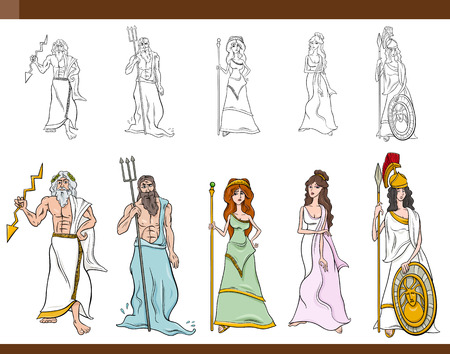 Cartoon Illustration of Mythological Greek Gods and Goddesses Set