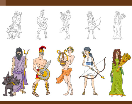 Cartoon Illustration of Mythological Greek Gods and Goddesses Collection Çizim