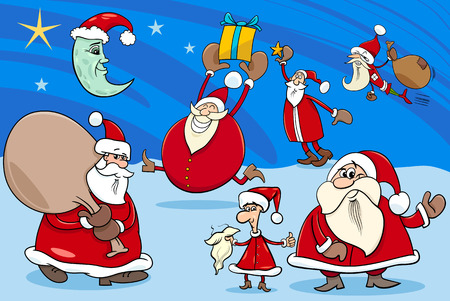 papa: Cartoon Illustration of Santa Claus Characters Group on Christmas Time Illustration
