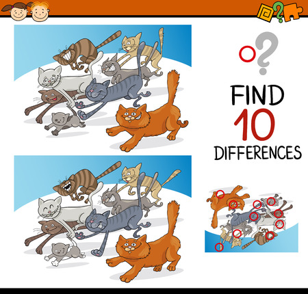 spot the difference: Cartoon Illustration of Finding Differences Educational Game for Preschool Children with Cats Animal Characters