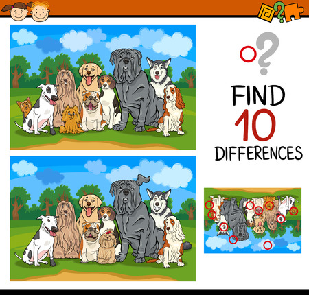 spot the difference: Cartoon Illustration of Finding Differences Educational Game for Preschool Children with Dogs