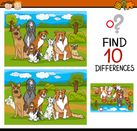 spot the difference: Cartoon Illustration of Differences Task for Preschool Children with Dogs Animal Characters
