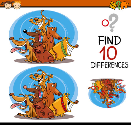 spot the difference: Cartoon Illustration of Differences Educational Task for Preschool Children with Dogs Animal Characters Illustration