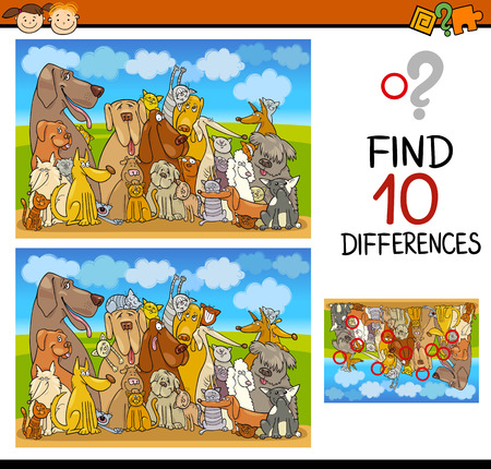 task: Cartoon Illustration of Differences Educational Task for Preschoolers with Dogs and Cats Animal Characters