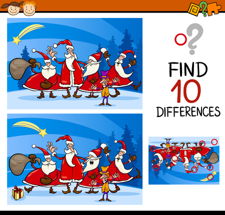 Cartoon Illustration of Differences Educational Task for Preschool Children with Christmas Characters Çizim