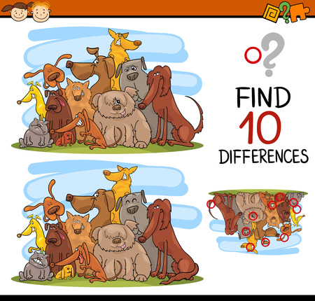 Cartoon Illustration of Finding Differences Educational Game for Preschool Kids with Dog Characters