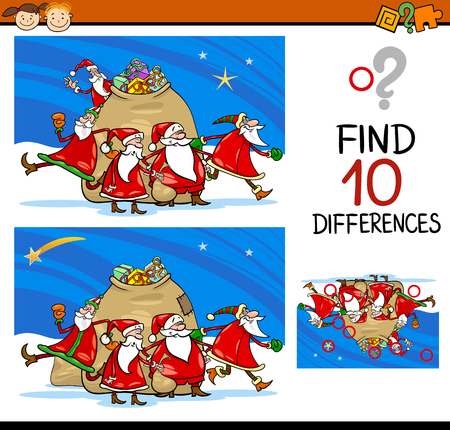 ready: Cartoon Illustration of Differences Educational Task for Preschoolers with Christmas Characters