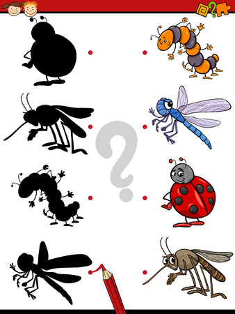 cartoon bug: Cartoon Illustration of Education Shadow Game for Preschool Children with Insects