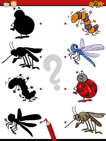 insecto: Ejemplo de la historieta de Educación Shadow Juego para niños en edad preescolar con los insectos