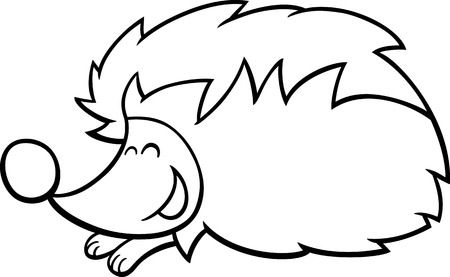 hedgehog: Black and White Cartoon illustration of Cute Hedgehog Animal Character Coloring Book