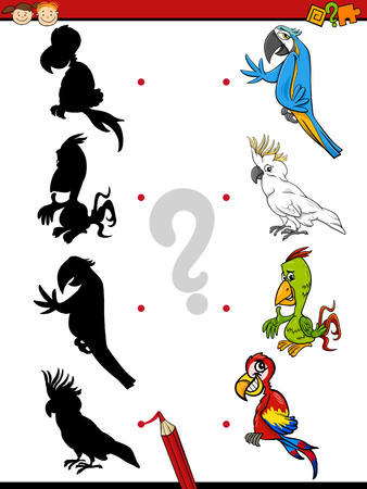 shadow match: Cartoon Illustration of Education Shadow Task for Preschool Children with Parrot Birds Animal Characters