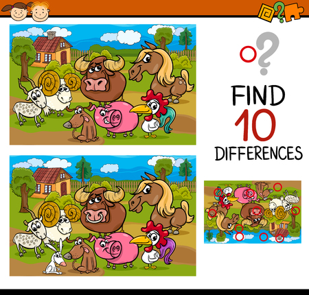 Cartoon Illustration of Differences Educational Task for Preschool Children with Farm Animal Characters