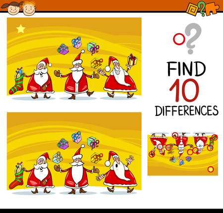 ready: Cartoon Illustration of Differences Educational Task for Preschool Children with Santa Claus Characters