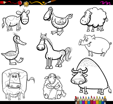 Coloring Book Cartoon Illustration of Farm Animals Characters Set Illustration