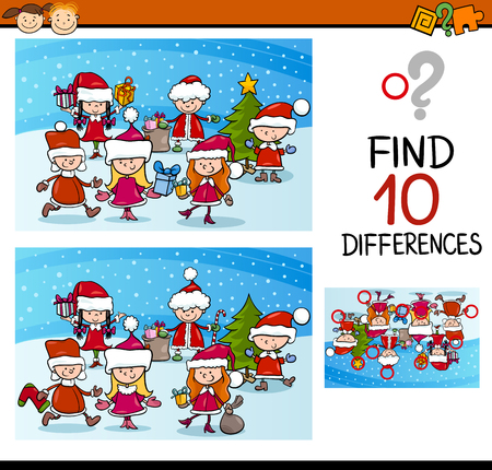 Cartoon Illustration of Differences Educational Task for Preschool Children with Kids Characters on Christmas Time